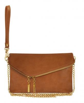 Faux Leather Clutch Purse WU023 D TAN