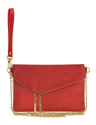 Faux Leather Clutch Purse WU023 RED