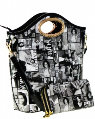 Magazine Combo Wallet Print Patent Shoulder Design Handbag Obama Combo 3602 BLACK