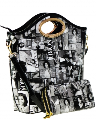 Magazine Combo Wallet Print Patent Shoulder Design Handbag Obama Combo 3613 BLACK