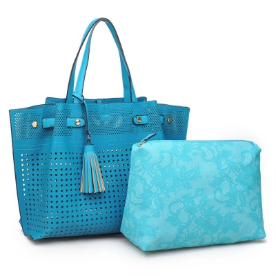 Urban Expressions Cadence Vegan Leather  Classic Tote Bag 11866-UR 37176 Turquoise