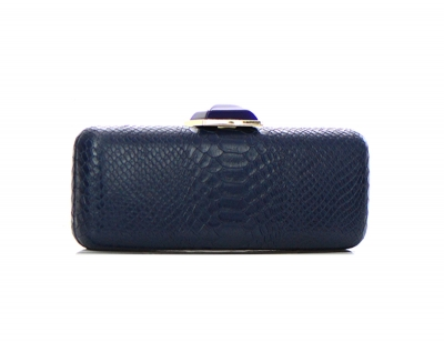 Animal Skin Pattern Stone Metal Clutch Purse 2624-UR 37222 navy