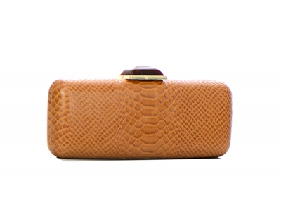 Animal Skin Pattern Stone Metal Clutch Purse 2624-UR 37222 Tan