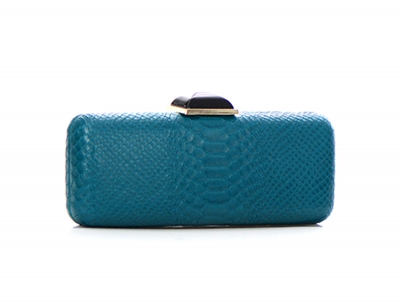 Animal Skin Pattern Stone Metal Clutch Purse 2624-UR 37222 Teal