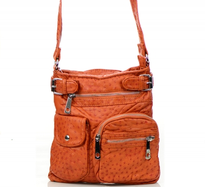 Vegan Leather Crossbody Hobo Messenger Back-Pack 30296-MEI 37425 Orange