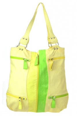Animal Skin Faux Leather Tote Bag LA61481 37623 Yellow