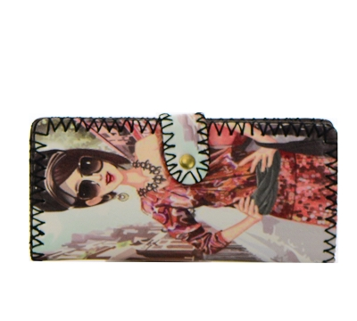 6 Pieces Pack Fashion Girl Print Faux Leather Wallet GWT99-1855 37685