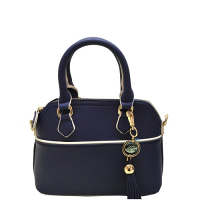 Faux Leather Hand Bag K1040 37810 Navy