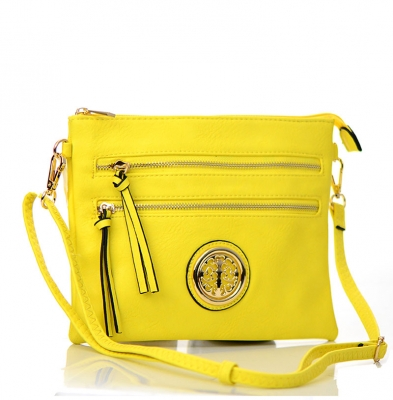 Faux Leather Double Zipper Crossbody Bag 80831A 37887 Yellow