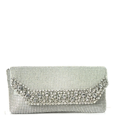 Rhinestone Clutch Purse 0002 38623 Silver