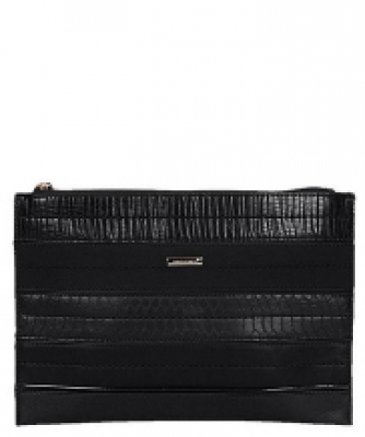 David Jones Faux Leather With Texture Patterned Clutch  52671 38643 Black