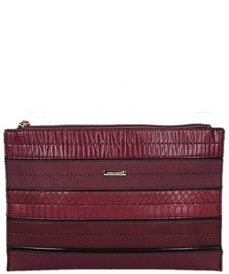 David Jones Faux Leather With Texture Patterned Clutch  52671 38643 Plum