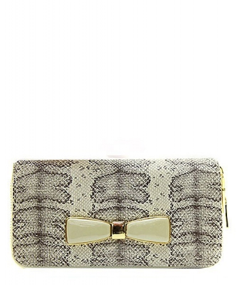 Faux Leather Snake Skin Bow AB-300W 38804 Taupe