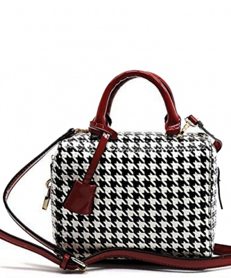 Patent Black and White Checkered Handbag H049 38835 Black