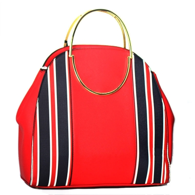 Vegan Leather Fashion Handbag P21458 39122 Red