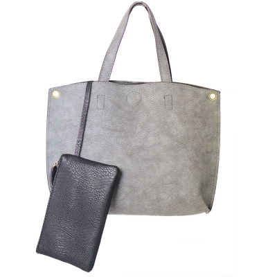 Reversible Soft Faux Leather Tote Bag BGA-4783 39187 Grey