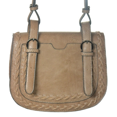 Faux Leather Messenger Bag BGW-46135 39276 Taupe