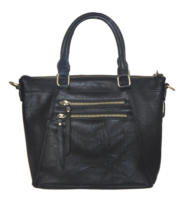 Faux Leather Totes Multi-Pocket Satchel BGW47461 39285 Black