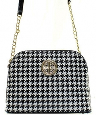 Houndstooth Patent Leather Messanger Bag H040 39376 black