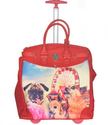 Rollies Classic Doggy's Bunny Rolling 14-inch Laptop Travel Tote Bag TMCD2013D 39570 Red