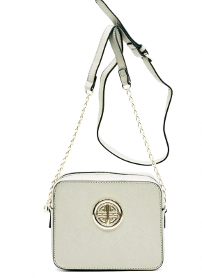 Messenger Handbag  Design Faux Leather Classic Style S039 39721 White