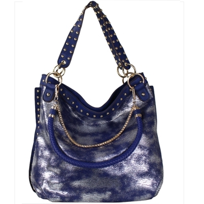 Faux Leather Hobo Shoulder Bag SF-908 39907 Blue