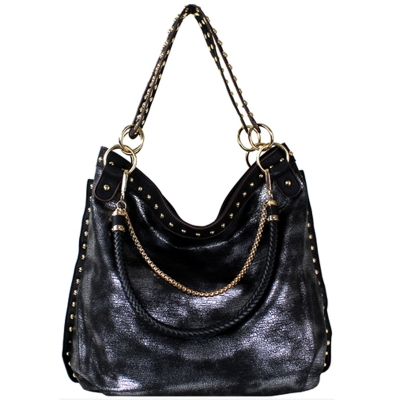 Faux Leather Hobo Shoulder Bag SF-908 39907 Black