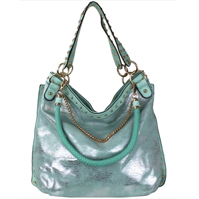Faux Leather Hobo Shoulder Bag SF-908 39907 Mint