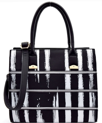Striped Faux Leather Satchel BS-111  BLACK