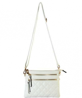 Quilted Crossbody Messenger Bag CC6052 39987 White