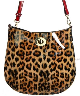 Leopard Glossy Animal Printed Satchel Crossbody Bag L01 RD