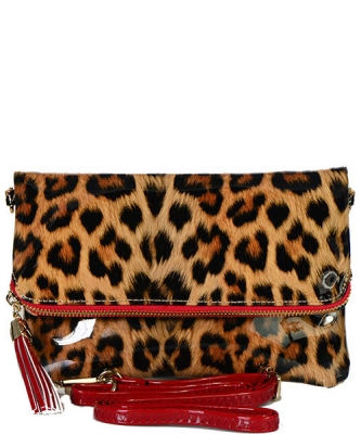 Leopard Glossy Animal Printed Satchel Crossbody Bag L037 RD