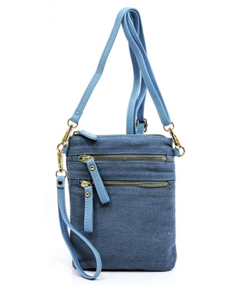 Denim LBL Petit Double Zippered Pocket Clutch with Wristlet and Strap DN002