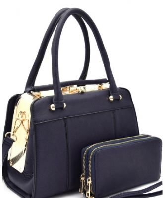 Hardware Frame Kiss-lock Satchel With Matching Wallet 2 In 1 Set WU1079
