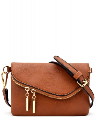 Flap Over Zip Pocket Cross Body Bag LW2096
