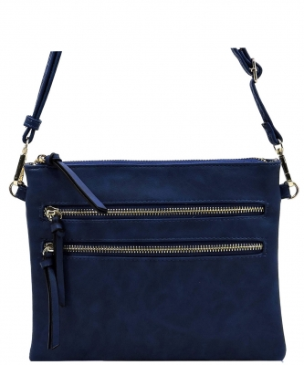 Multi Metal Zipper Pocket Small Crossbody Bag 80831B NAVY