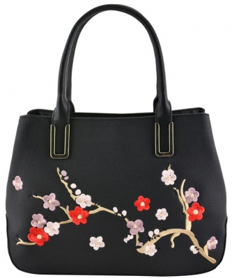 Floral Embroidered Tote Handbag Design AA362