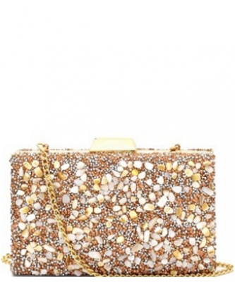 Madison West Multi Color Stone Glittery Hard Clutch CLW0788