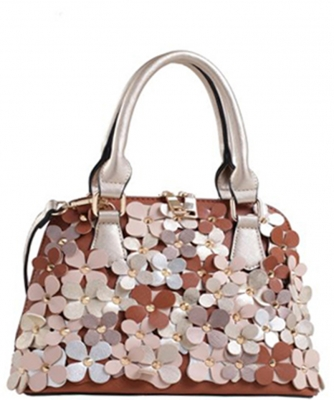 Faux Leather  Flower Print  Shoulder Handbag  87473