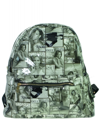 Fashion Magazine Print Faux Patent Leather Bagpack  F7345 MT