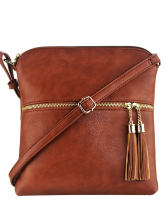 Tassel Accent Messenger Bag LP062 COFEE