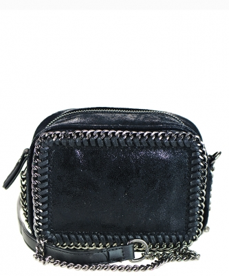 Mini Chain Faux Leather Handbag A81017 BLACK