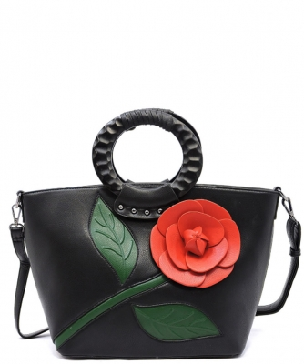 3D Flower Wooden Top Handle Satchel PW1555 BLACK