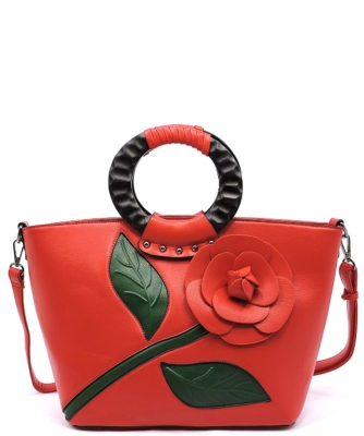 3D Flower Wooden Top Handle Satchel PW1555 RED