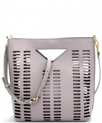 Lazer-Cut 2 IN 1 Satchel Shoulder Bag BGT2971 GRAY