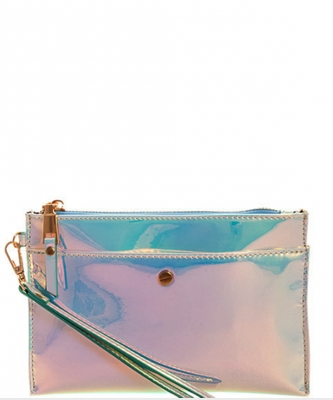 Glossy Chic Clutch With Wristlet CLS0746 BLUE