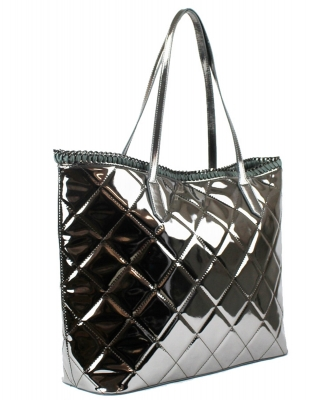 Trendy Metallic Glossy Tote With Coin Purse BGS7046 PEWTER