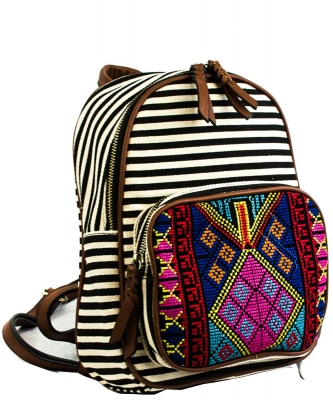 BGS3609  Stripe Print Braid Strap BackPack BLACK