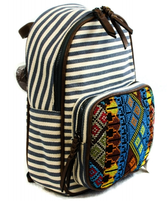 BGS3609  Stripe Print Braid Strap BackPack NAVY