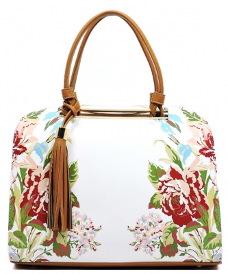 Flower Printed Day Satchel ES1557 BROWN